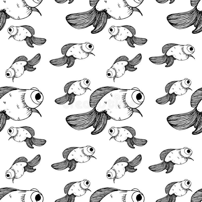 金鱼样式黑色线不同的大小 皇族释放例证