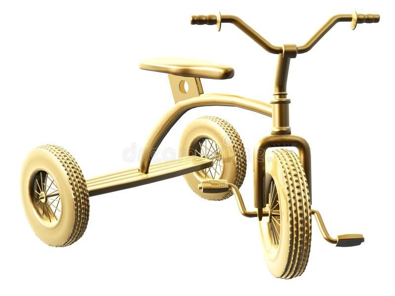 金黄三轮车 向量例证