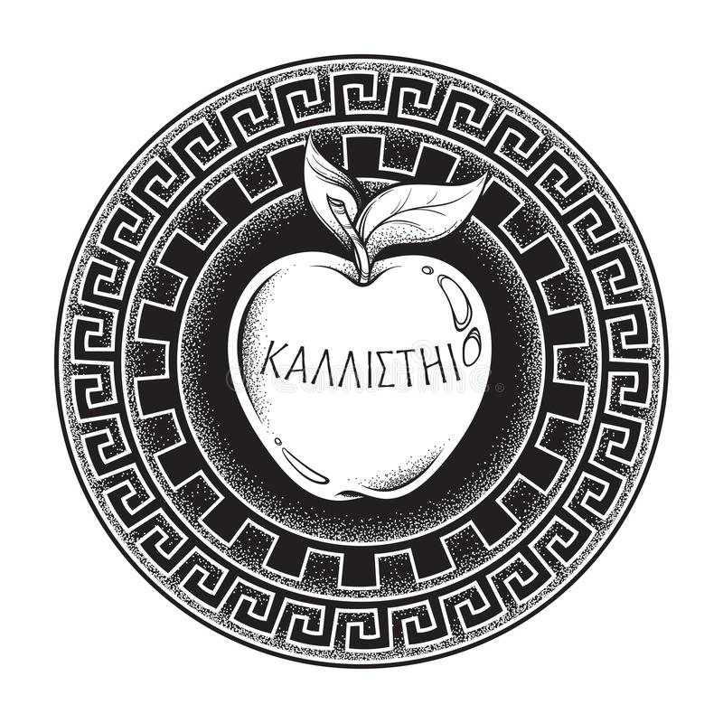 金黄不和的种子,希腊文化的神话,对的礼物女神 在古希腊的题字为最公平的Boho sti说- 库存例证