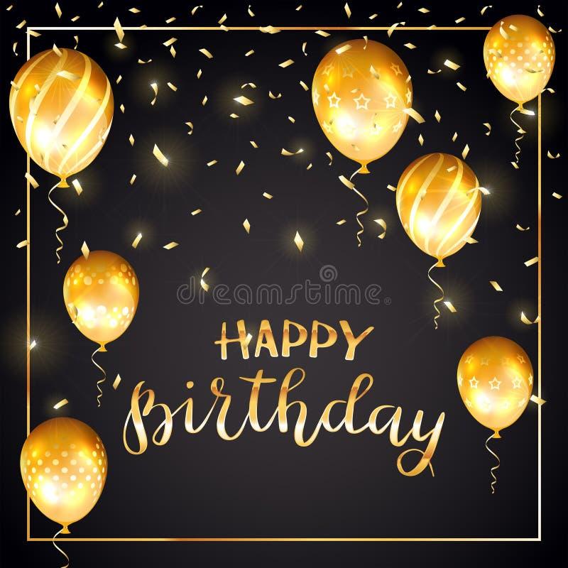 金黄与气球和五彩纸屑的文本生日快乐在黑b 库存例证
