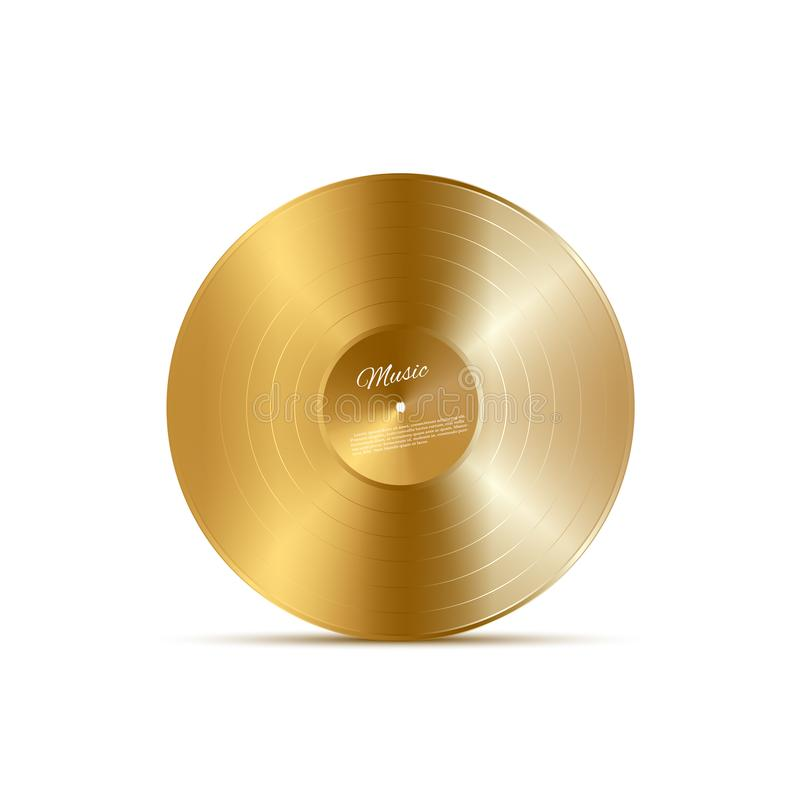 金黄乙烯基圆盘 传染媒介音乐设计元素 皇族释放例证