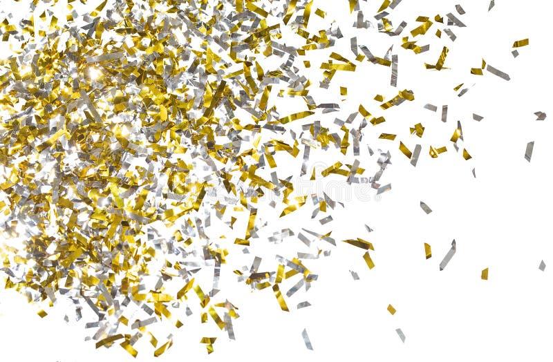 金黄五彩纸屑照片在白色背景的 免版税库存照片