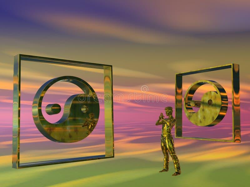 金黄人思考的杨yin 向量例证