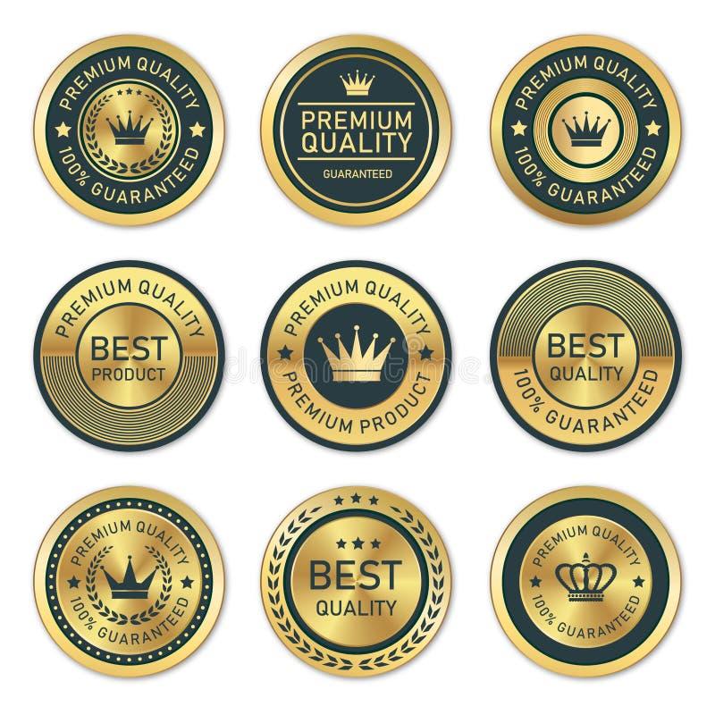 金黄优质质量标签的汇集 库存图片