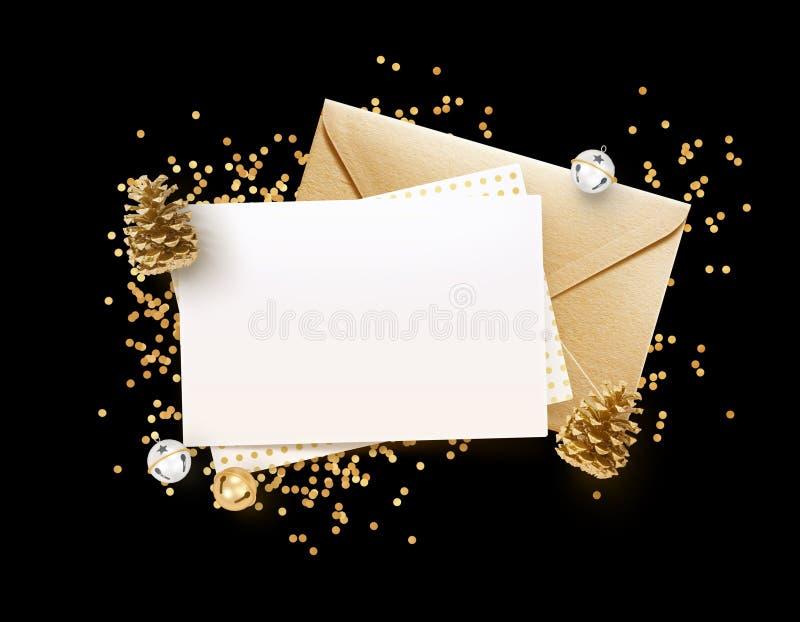 金黄信封和空白的备忘录纸嘲笑设计模板 库存图片