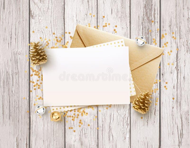 金黄信封和空白的备忘录纸嘲笑设计 库存例证