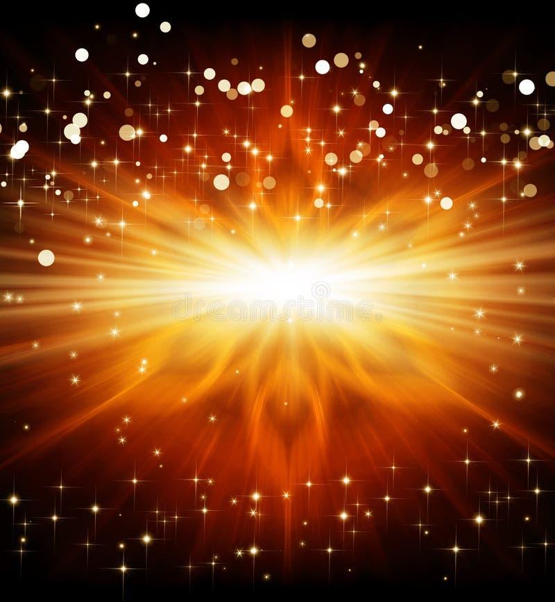 金黄光、backgrond与星和光芒 库存例证