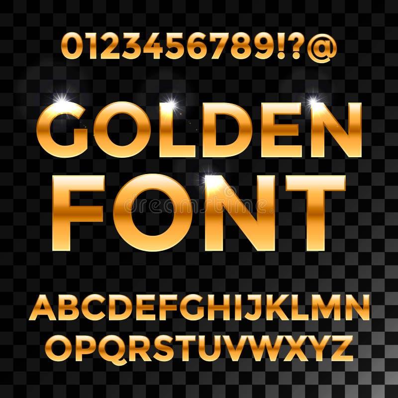 金黄光滑的向量字体或金子字母表 金字体 金属金黄abc,字母表印刷豪华 库存例证