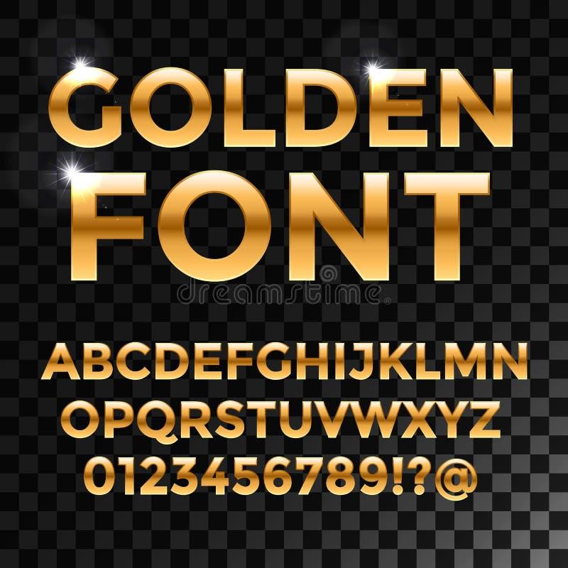 金黄光滑的字体或金子字母表 金 皇族释放例证