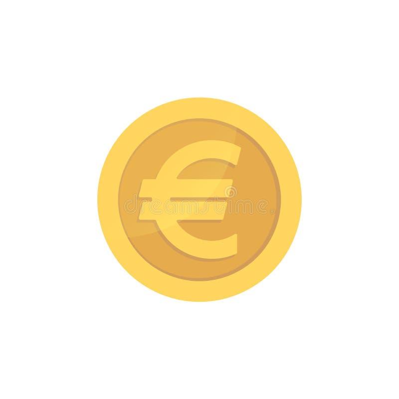 金黄光滑的欧洲硬币 金象形文字欧洲发光的硬币 向量例证