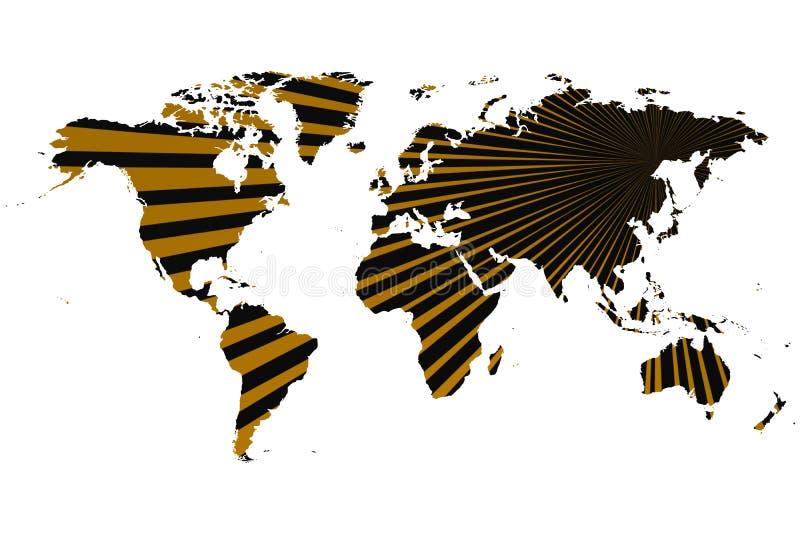 金黄光芒世界地图 向量例证