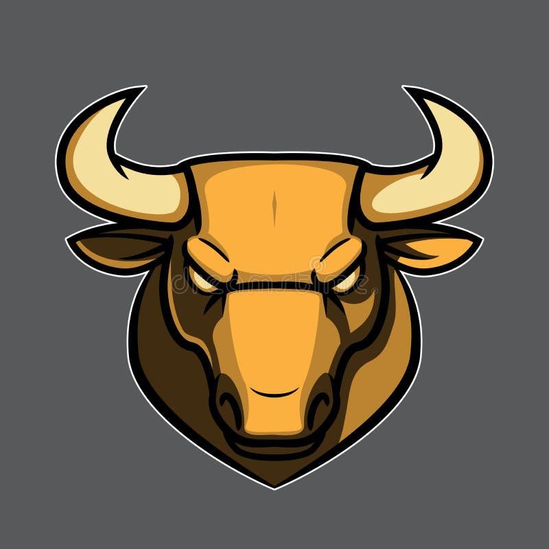 金黄公牛商标顶头例证 向量例证