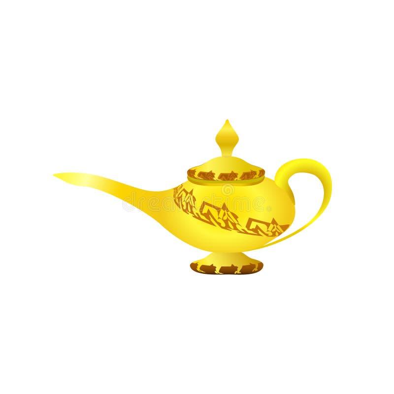 金黄典雅的不可思议的灯 阿拉伯童话 传说 背景棕色粗麻布铸造概念自由充分的金黄好的开放大袋空间常设文本财富 外籍动画片猫逃脱例证屋顶向量 三个愿望东部文化, arabi 皇族释放例证