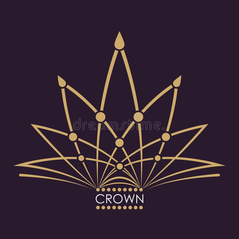 金黄冠传染媒介 线艺术商标设计 力量和财富的葡萄酒皇家标志 创造性的企业标志 向量例证