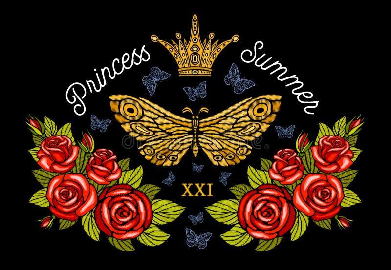 金黄冠,蝴蝶金黄刺绣,葡萄酒样式玫瑰 库存图片