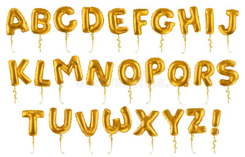 金黄可膨胀的玩具气球字体 3d传染媒介现实集合 信件从A到Z 向量例证