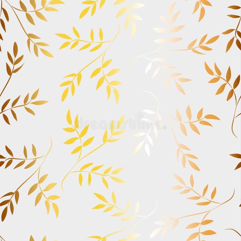 金黄叶子的样式在白色背景的 向量例证