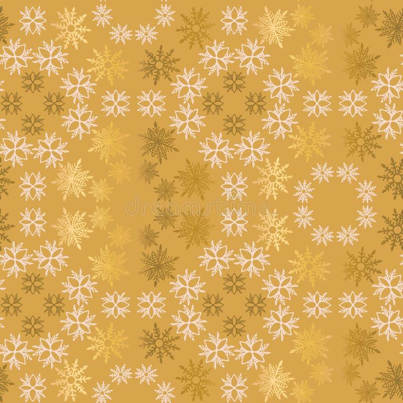 金黄和浅粉红色的雪花简单的装饰无缝的传染媒介样式 抽象墙纸,包裹装饰 皇族释放例证