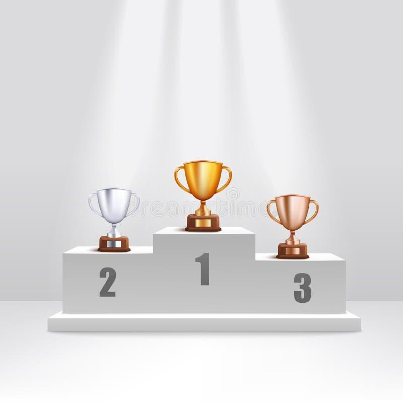 金黄和银色和古铜色战利品杯子在奖指挥台现实样式站立 库存例证