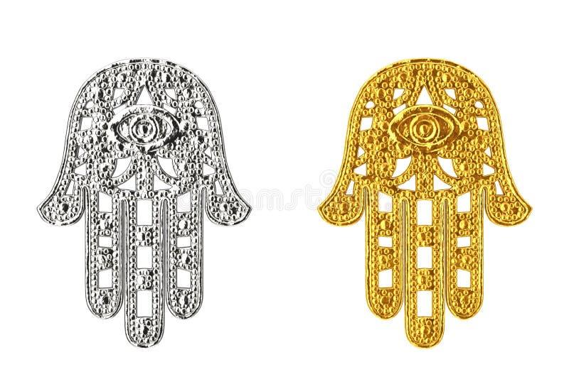 金黄和银色Hamsa,法蒂玛护身符标志的手 3D rende 皇族释放例证