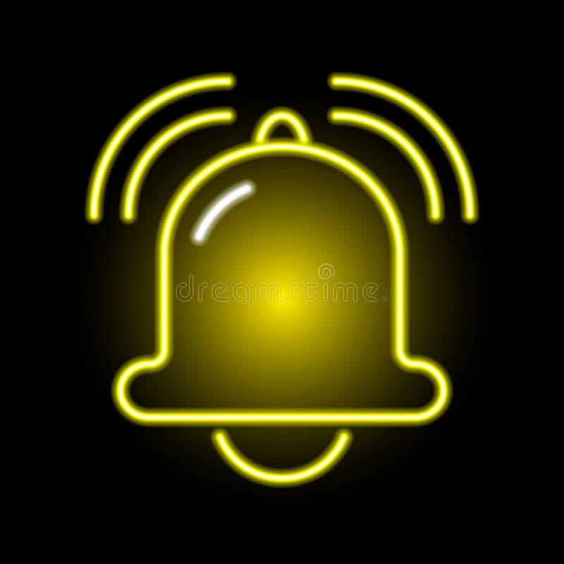 金黄喧闹的敲响的响铃的霓虹象 向量例证