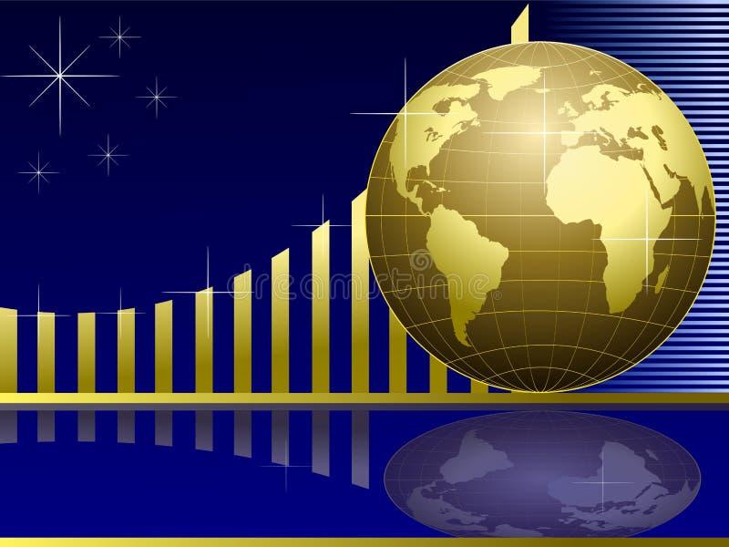 金黄图表的地球 向量例证