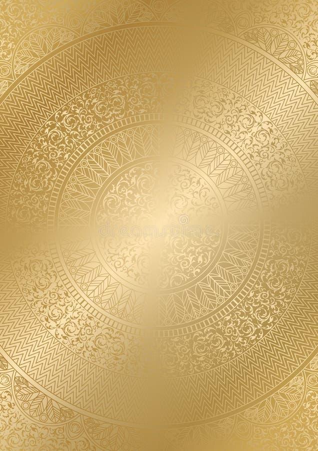 金黄圆的花卉样式梯度颜色 葡萄酒盖子设计模板 传染媒介坛场海报软的详细的背景 皇族释放例证