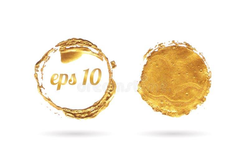 金黄圈子框架和蜡封印传染媒介集合 皇族释放例证