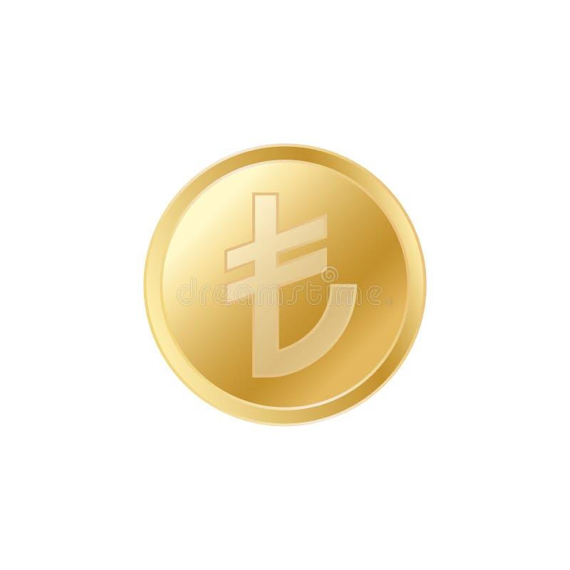 金黄土耳其里拉硬币 现实栩栩如生的金里拉硬币 向量例证