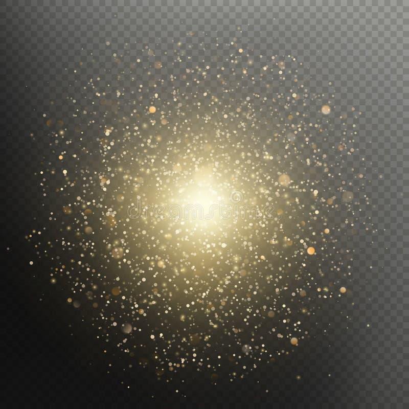 金黄圣诞节和新年闪烁的爆炸闪耀的烟花豪华躺在的作用 10 eps 皇族释放例证