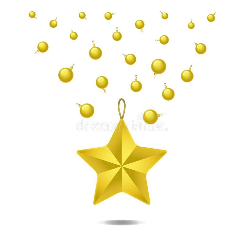 金黄圣诞节在白色背景隔绝的球和星 也corel凹道例证向量 向量例证