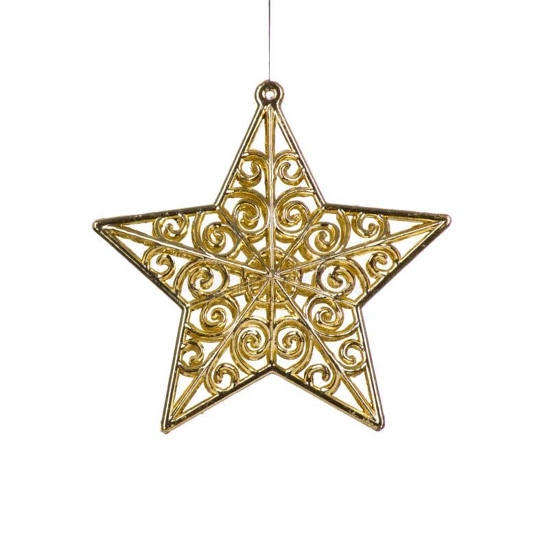 金黄圣诞节星形装饰 免版税库存照片