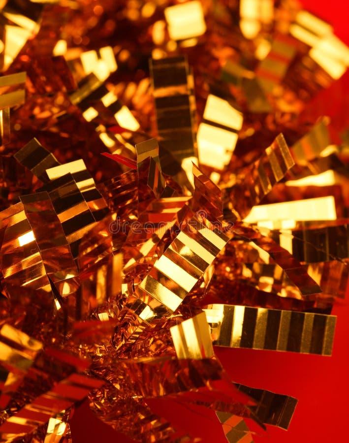 金黄圣诞节的装饰 免版税库存图片