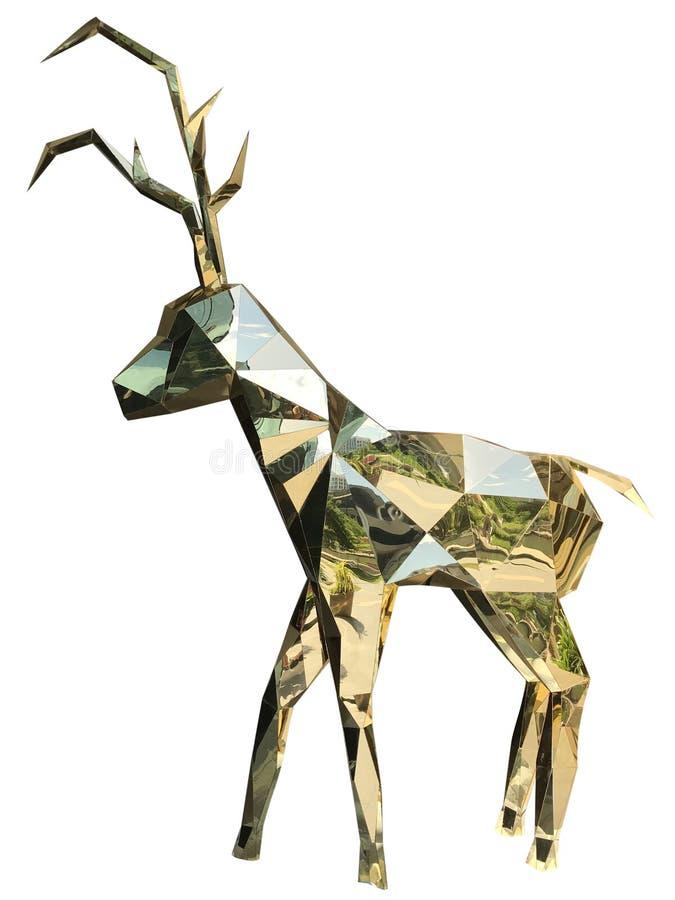 金黄圣诞节驯鹿 免版税库存照片