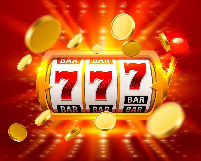 金黄大胜利槽孔777横幅赌博娱乐场飞行铸造 向量例证