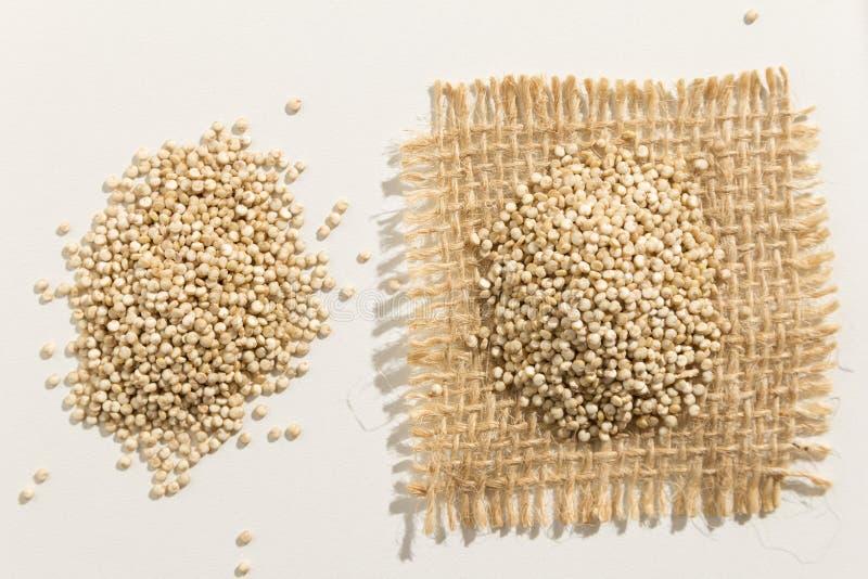 金黄奎奴亚藜种子 关闭五谷延长白色桌 库存图片