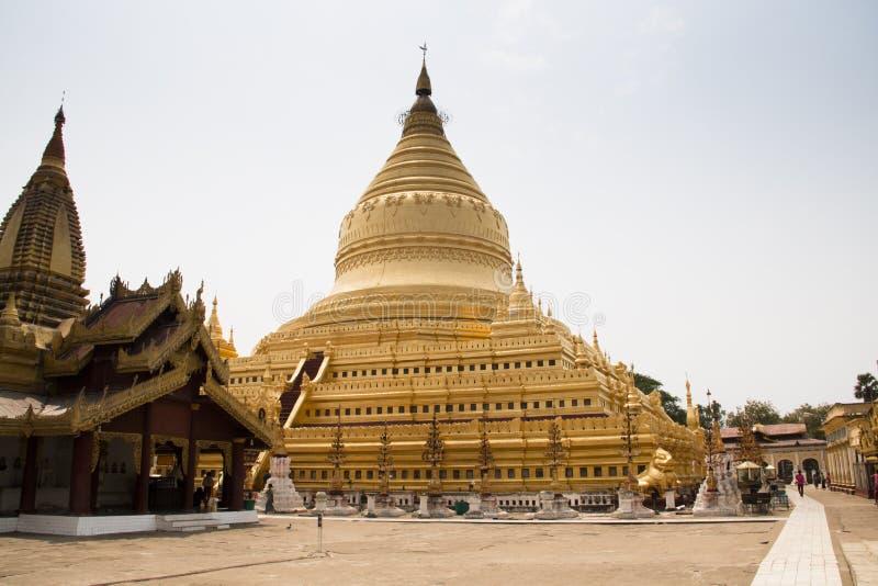 金黄寺庙在蒲甘,缅甸 库存图片