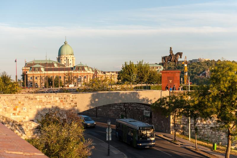 金黄小时在布达佩斯 图库摄影