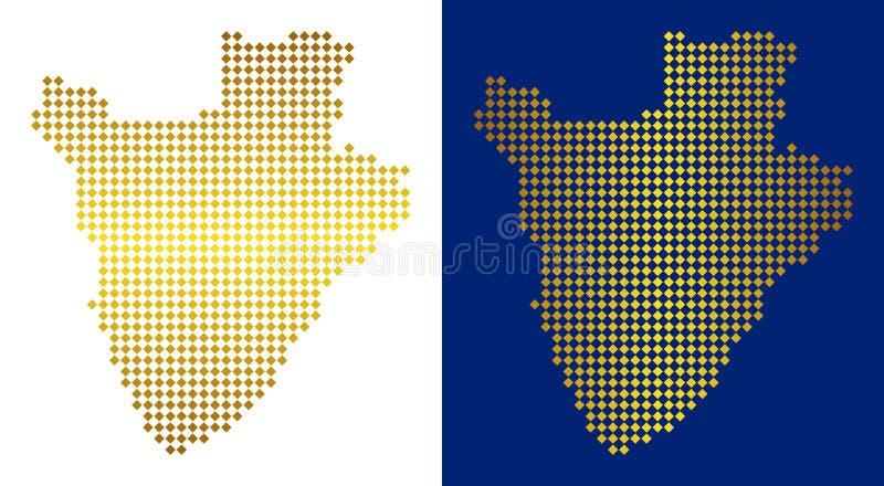 金黄小点布隆迪地图 皇族释放例证