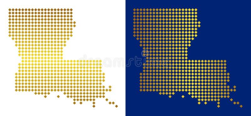 金黄小点路易斯那州地图 库存例证