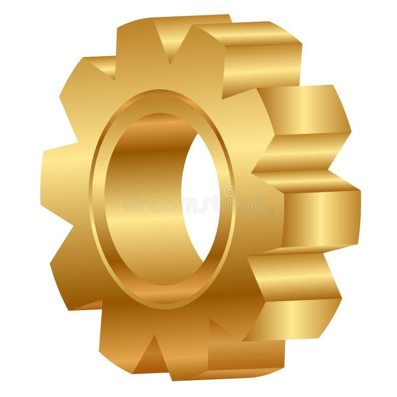 金黄嵌齿轮轮子 向量例证