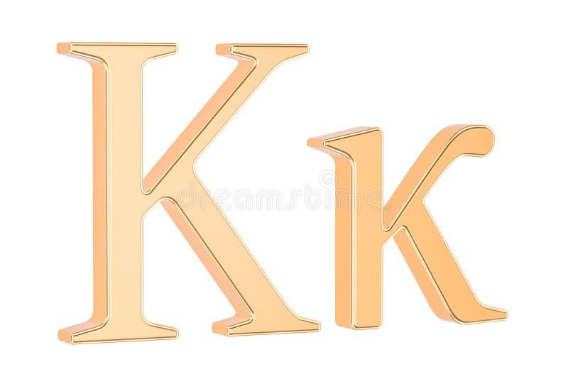 金黄希腊信件Kappa, 3D翻译 库存例证