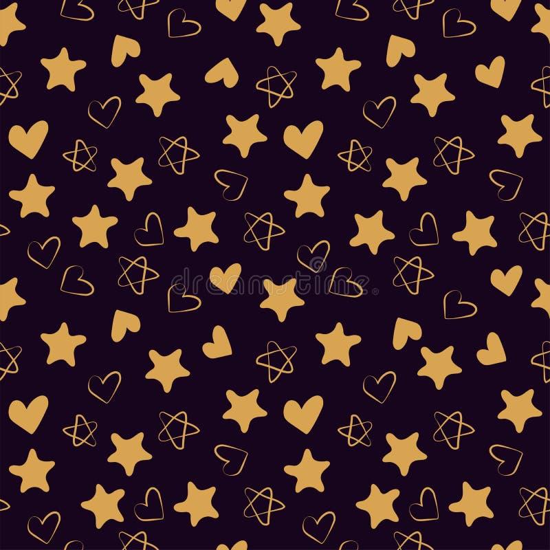金黄心脏和星无缝的样式 时尚设计印刷品 设计元素为婚姻,孩子的生日或者情人节 库存例证