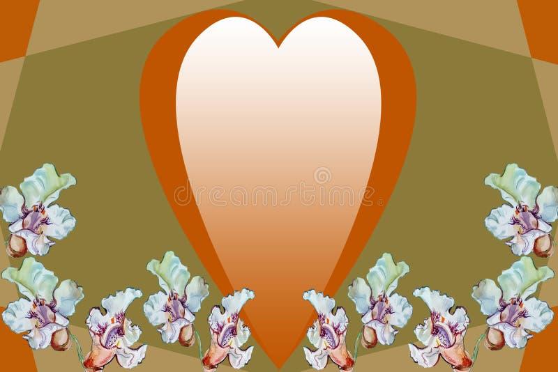 金黄心脏和白花在抽象几何背景 免版税库存图片