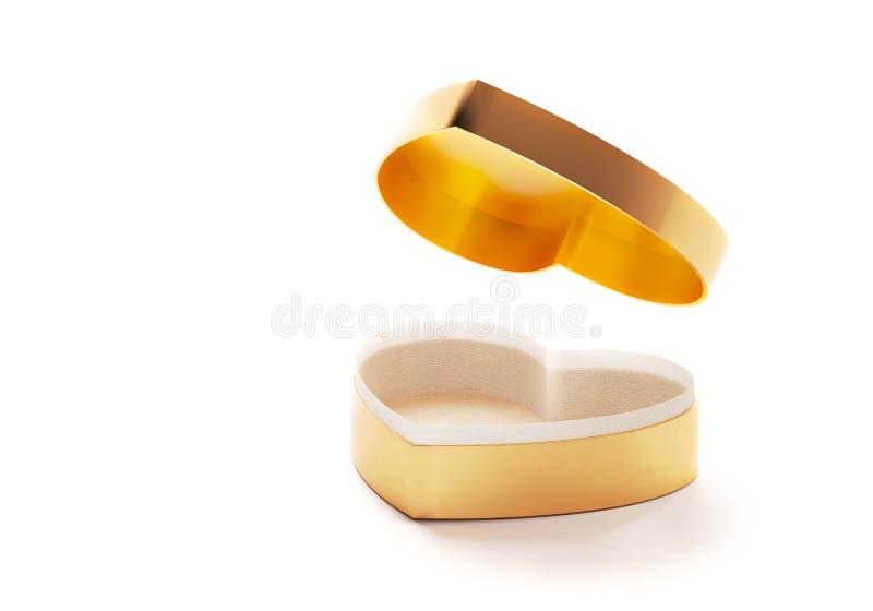 金黄心脏箱子为情人节或特别日子在爱概念 有心形的开放空的金礼物盒被隔绝的 免版税图库摄影