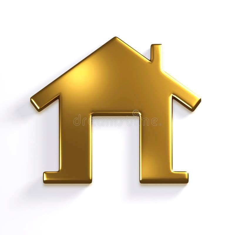 金黄房子 3D回报象例证 向量例证