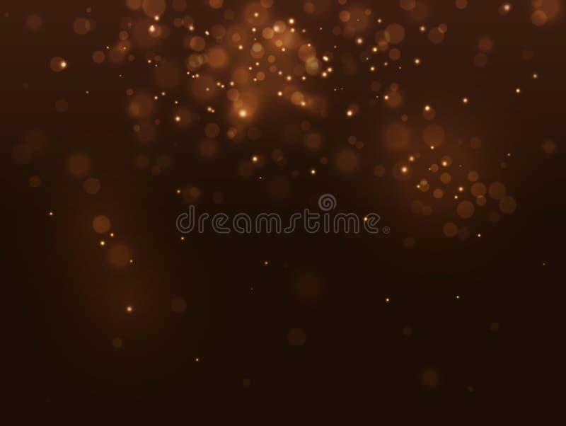 金黄抽象豪华bokeh背景 光线影响金火花 圣诞节迷离 传染媒介黄色闪耀的落的五彩纸屑 向量例证