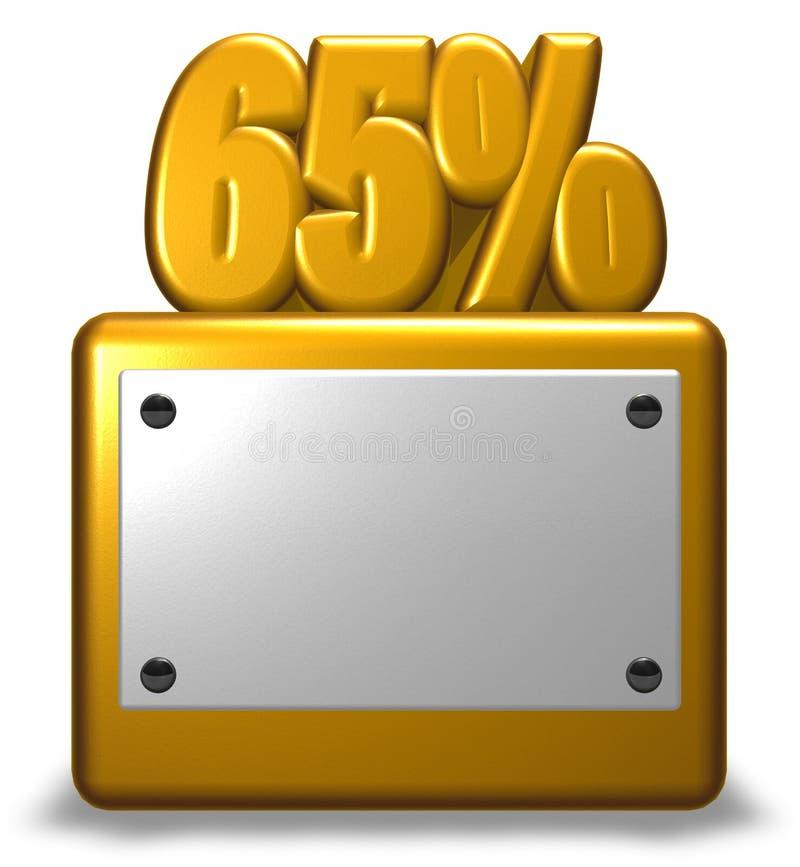 金黄数字和百分之标志 库存例证