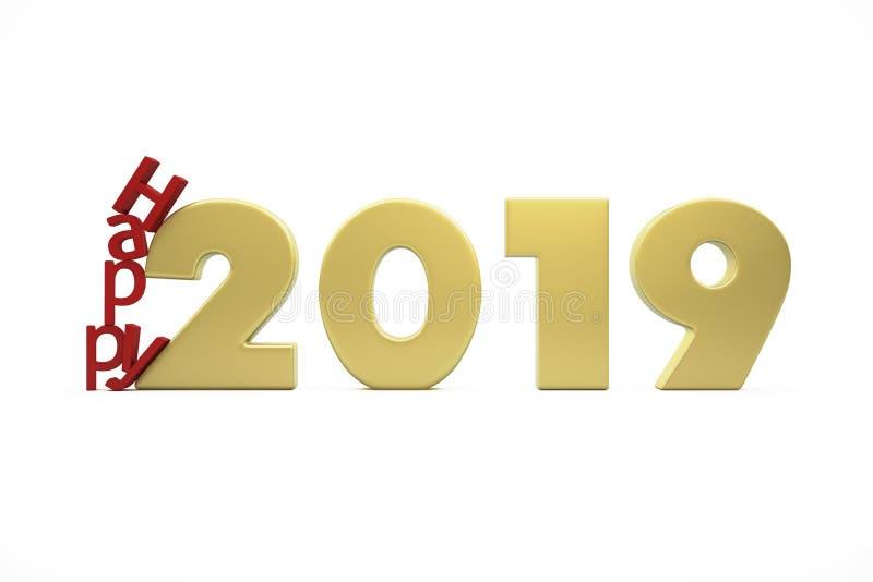 金黄新年的愉快的2019个图 库存图片