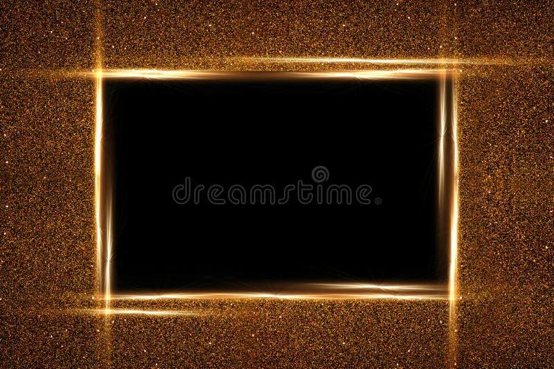 金黄方形的框架和闪烁   发光的微粒构造  r 向量例证